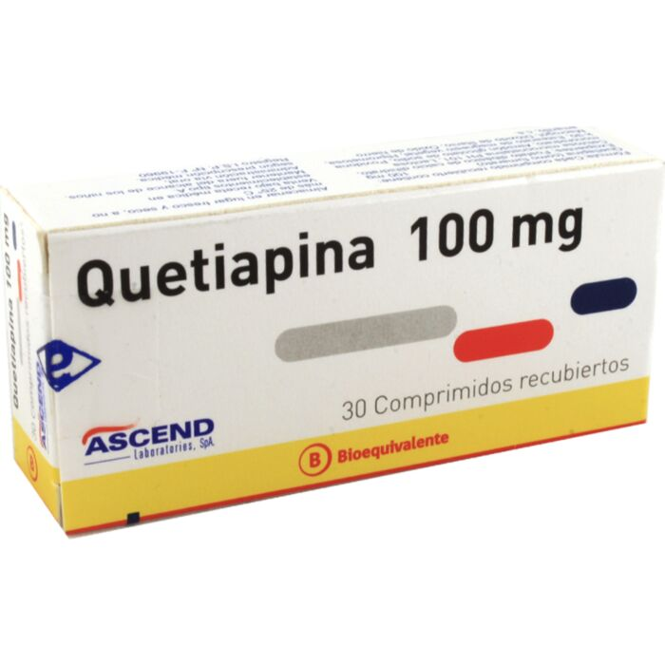 Quetiapina 100 mg x 30 comprimidos Ascend